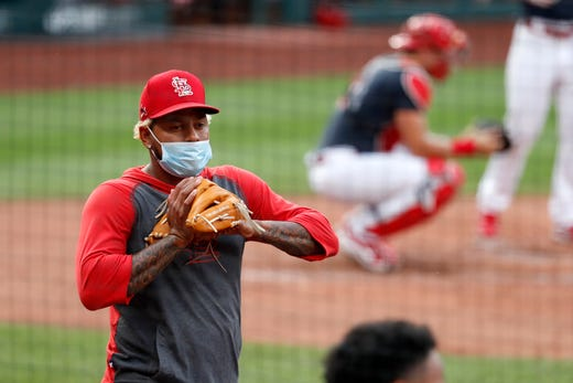 St. Louis Cardinals pitcher Carlos Martinez watches during baseball practice at Busch Stadium Tuesday, July 7, 2020, in St. Louis.