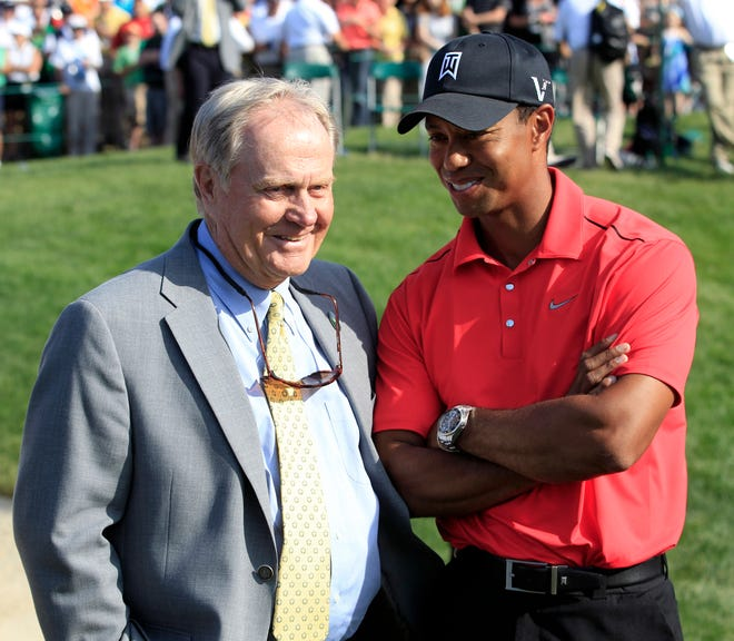 Tiger Woods is returning to the PGA Tour at The Memorial next week. The tournament was founded by golf legend Jack Nicklaus, left, in 1976. TONY DEJAK/AP