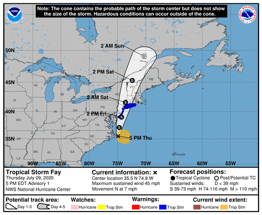 Forecast path of Tropical Storm Fay, which formed off North Carolina coast July 9.