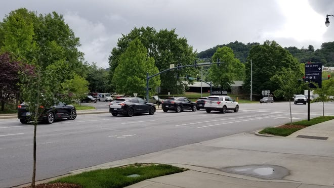 A reader spotted these new Mustang Mach-E prototypes in mid-June, in the left-turn lane. Ford was making a test run with the electric vehicles from Michigan to Asheville and back.