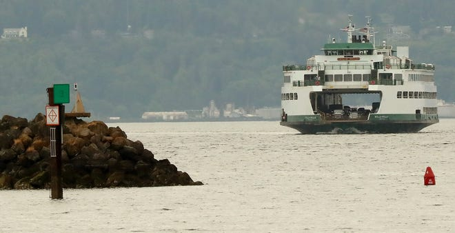 The Washington State Ferry Walla Walla heads for the Kingston dock on Thursday, July 9, 2020.