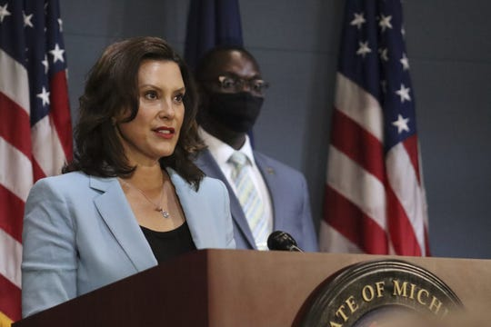 Governor Gretchen Whitmer gives an update on COVID-19 during a press conference on Wednesday, July 9, 2020.