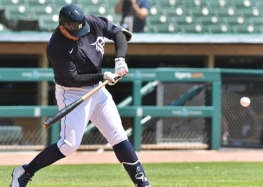 Tigers designated hitter Miguel Cabrera singles during an intrasquad game Thursday.