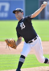 Tigers pitcher Matthew Boyd works from the mound.