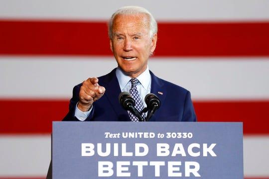 Democratic presidential candidate former Vice President Joe Biden speaks at McGregor Industries in Dunmore, Pa., Thursday, July 9, 2020.