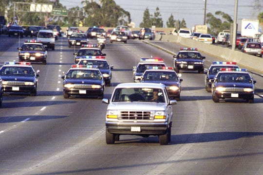 The most famous Bronco, a 1993 model carrying OJ Simpson in a slow-speed chase through Los Angeles,