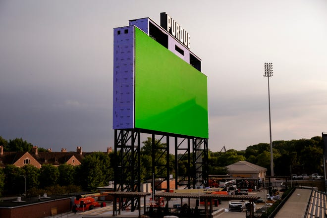 A green light is emitted from the new Ross-Ade stadium video board in the south end zone, Wednesday, July 8, 2020, in West Lafayette. The new video board will be the first HDR (high-dynamic range) board in college football, measuring in at 56-feet, 9-inches high and 150-feet, 4-inches feet wide.