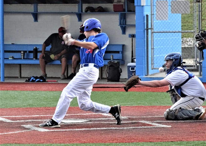 Post 11's Gavin Rowland fouls off a pitch during an earlier game this season. Post 11 has won seven games in a row, including nine of its last 11 games.