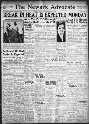 This front page appeared in the July 11, 1936edition of The Advocate. The area and nation was undergoing a massive heatwave and drought.
