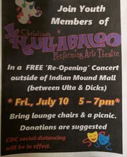 A flyer from Christina's Hullabaloo Performing Arts Theatre shows an outdoor reopening concert will be held Friday 5-7 p.m. between Dick's Sporting Good and Ulta at Indian Mound Mall in Heath. The concert is free, but donations are suggested.