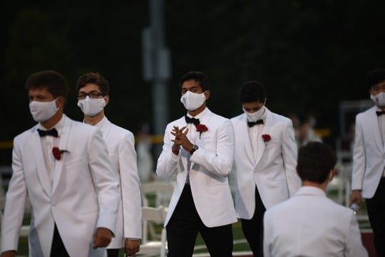Ridgewood High School had to alter the graduation ceremony due to the Covid-19 pandemic. The socially distant ceremony is held in Ridgewood on Wednesday July 08, 2020.