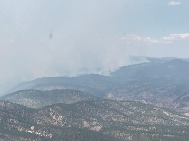 Smoke from the Cub Fire in the Gila National Forest is visible July 7, 2020.