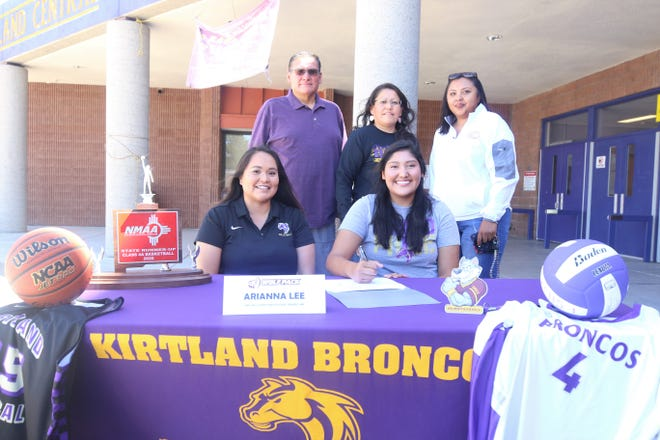 Kirtland Central's Arianna Lee signs her national letter of intent on Thursday, July 9, 2020, to play both volleyball and basketball at Oak Hills Christian College in Bemidji, Minnesota.