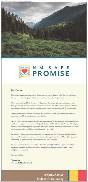 New Mexico Tourism department published an ad in The Arizona Republic Tuesday urging Phoenicians to join the NM Safe Promise, which promotes COVID-19 safe practices.