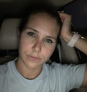 Brittany Schilling after her 12-hour shift as the charge nurse for a Phoenix intensive care unit.