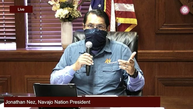 Navajo Nation President Jonathan Nez speaks during an online town hall on July 7, 2020.