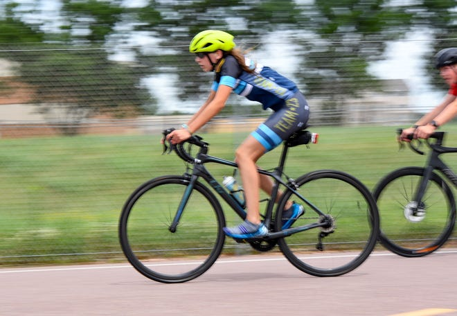 Mia Wentzy trains for a triathlon on Thursday, July 9, in Sioux Falls.