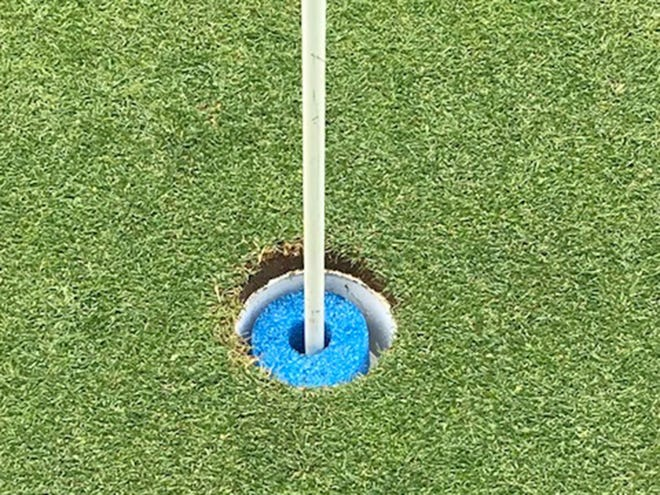 Sections of pool noodles have been placed in the golf holes at Gypsy Hill to keep people from touching the flag or cup when retrieving their ball.