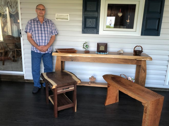 After retiring Mark Hambel took up woodworking. He now makes furniture, including tables and bookcases.