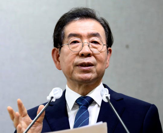 Seoul Mayor Park Won-soon speaks during a press conference at Seoul City Hall in Seoul, South Korea on July 8, 2020.