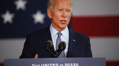 The presumptive Democratic presidential nominee Joe Biden speaks at McGregor Industries on July 09, 2020 in Dunmore, Pennsylvania. The former vice president, who grew up in nearby Scranton, toured a metal works plant in Dunmore in northeastern Pennsylvania and spoke about his economic recovery plan. With fewer than four months until the election, polls continue to show Biden leading in Pennsylvania which is a battleground state in the race for the presidency.