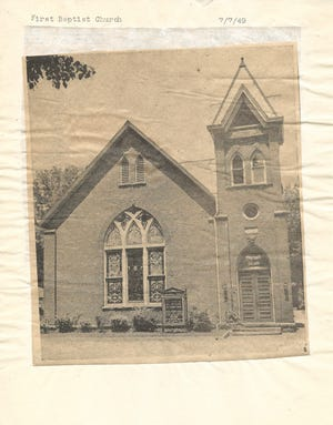 A photo of the exterior of the First Baptist Church in Chillicothe, located at 65 W 4th St, originally published in the Chillicothe Gazette on July 7, 1949.