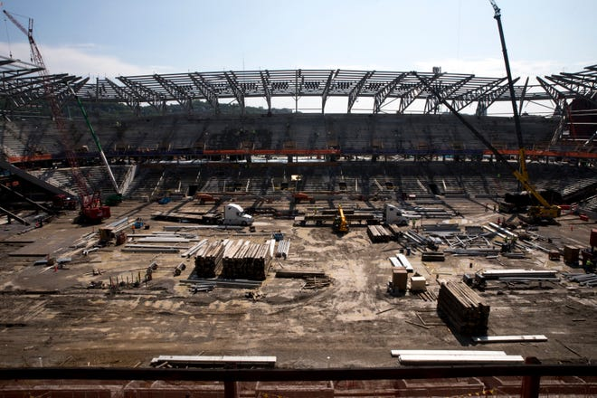 A view of construction progress of the field and east end of FC Cincinnati's stadium in the West End on Friday, July 10, 2020.
