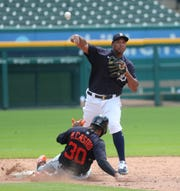 Tigers second baseman Jonathan Schoop forces out second baseman Harold Castro during the intrasquad game at Comerica Park on Friday, July 10, 2020.