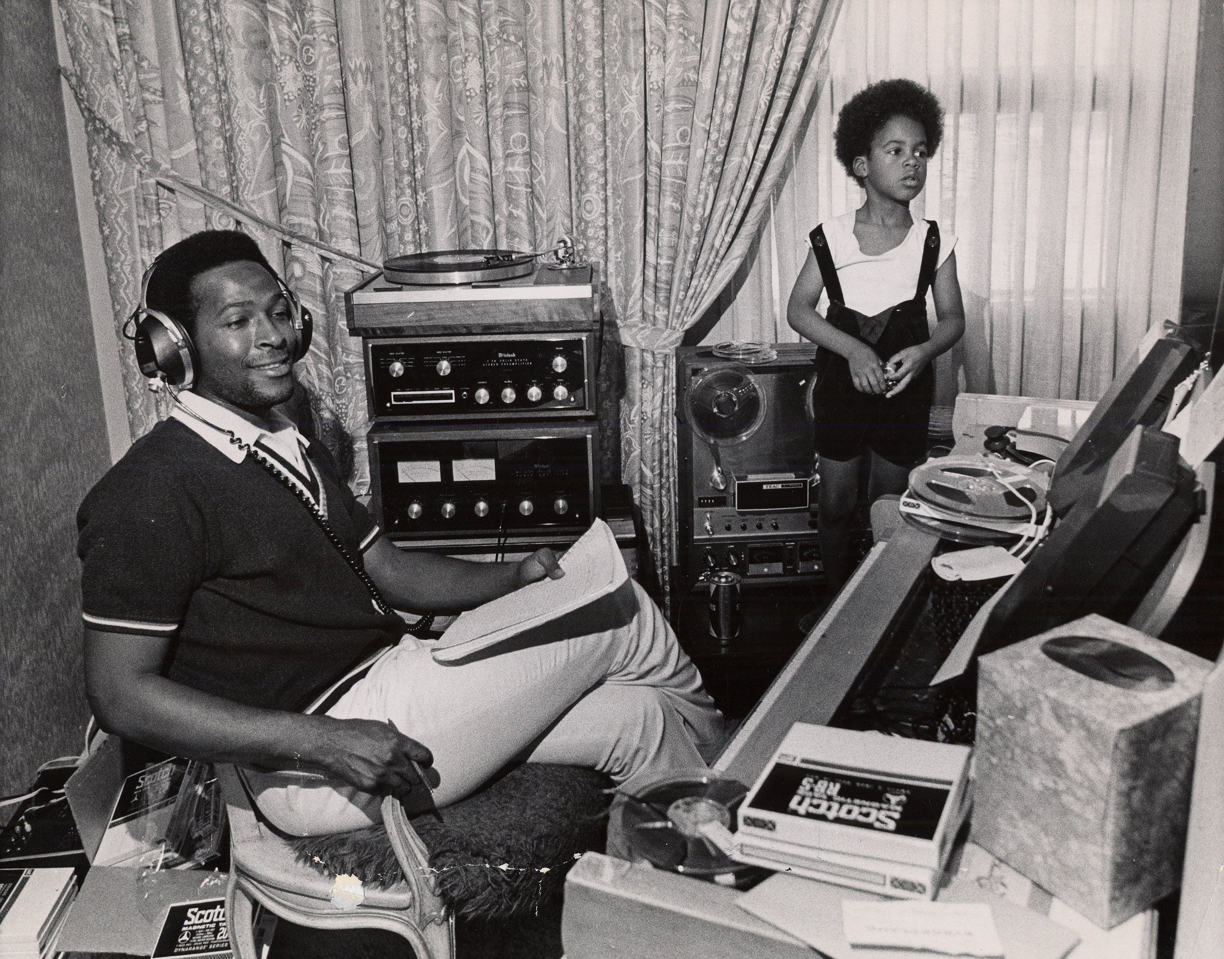 Marvin Gaye at home with his son Marvin Gaye III.