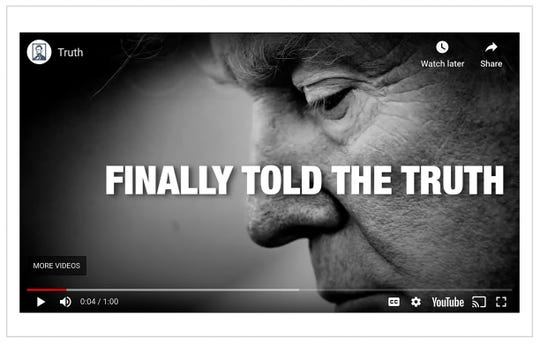 A screen capture from the ad 'Truth' by the Lincoln Project. In this video, Trump is taken to task for saying in Tulsa last month that he wanted testing for coronavirus to be slowed so more cases weren't uncovered.