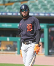 Tigers second baseman Harold Castro bats during the intrasquad game at Comerica Park on Friday, July 10, 2020.