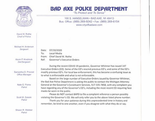 A July 10, 2020, letter from Bad Axe's police chief asks people not to contact his departments about people possibly violating Gov. Gretchen Whitmer's new executive order requiring masks to be worn in businesses.