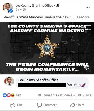 The Lee County Sheriff's Office sent a woman who voiced support for a political opponent of Sheriff Carmine Marceno an eggplant emoji before deleting its response. Dictionary.com says the emoji can be represent a penis. Urban dictionary says calling someone this may also be a Sicilian slur equivalent to the n-word. This image has been edited to redact the user's profile name.