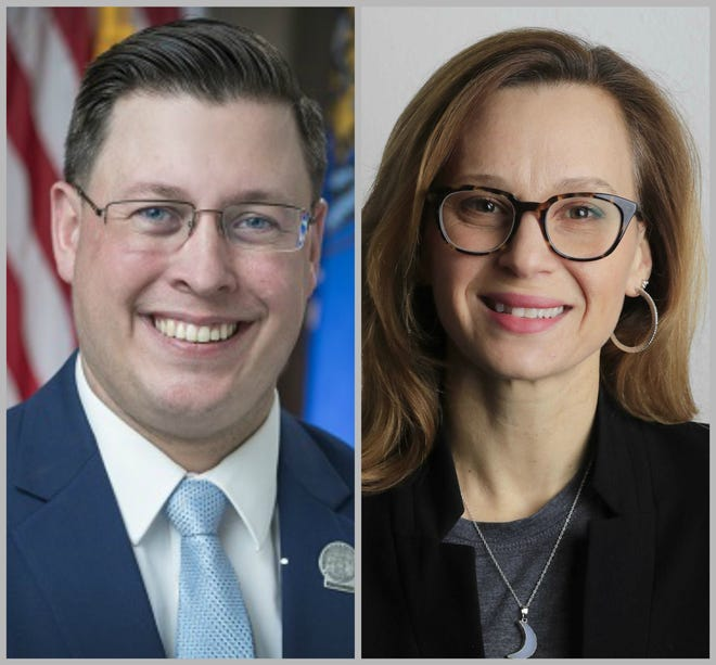 Staush Gruszynski and Kristina Sheltton, Democratic Party candidates for state Assembly District 90