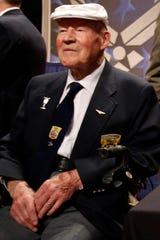 David Thatcher attends the 2015 presentation of a Congressional Gold Medal honoring the Doolittle Tokyo Raiders at the National Museum of the U.S. Air Force at Wright-Patterson Air Force Base in Dayton, Ohio.