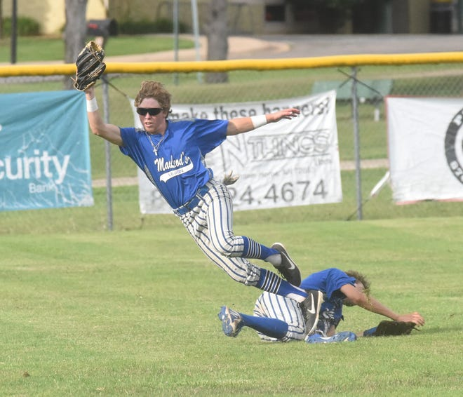 MacLeod center fielder Wyatt Goodman makes a running catch while falling over left fielder Payton Evans on Thursday night at Cooper Park.