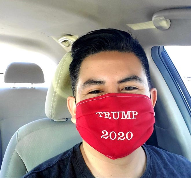 Jeremiah Cota in his Trump 2020 mask.