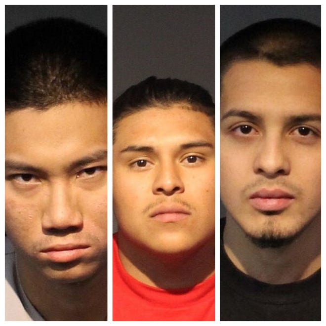 Oswald Liang, 21, left, Esteban Adame-Lopez, 23, and Luis Marto Acosta, 21, all pleaded guilty on July 1, 2020, to a charge of battery with a deadly weapon, causing substantial bodily harm. They were all sentenced to two to five years in prison.