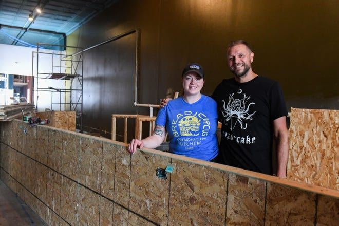 Sara Benson and Pat Nelson stand behind what will become the bar at Hello Hi on Friday, July 10, in Sioux Falls.