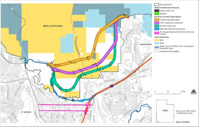 A map showing several options for the proposed Northern Corridor, including the UDOT, BLM and USFWS preferred alignment in pink.
