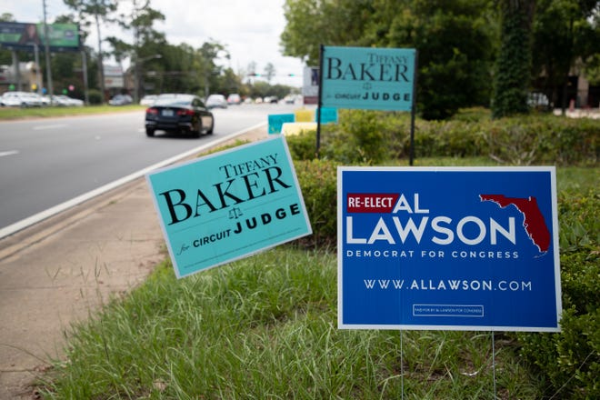 As the primary election nears, political signs can be found on roadsides around Tallahassee.