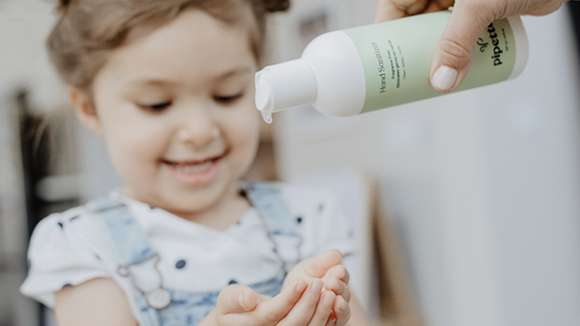 Pipette's hand sanitizer is fragrance-free, non-sticky and non-drying.