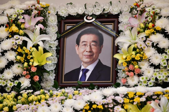 A portrait of the late mayor of Seoul Park Won-soon is placed in a hospital in Seoul, South Korea, on July 10, 2020.