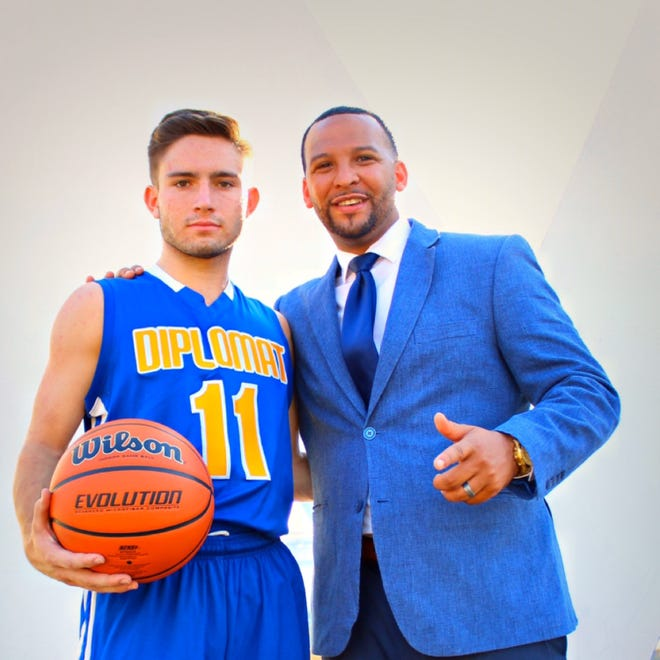 Goshen graduate Zack Foley, left, reunited with his first basketball coach, Harold Rayford Jr., at Tennessee Prep Academy in Memphis for the 2019-20 season. Foley's play earned the point guard a Division II scholarship at University of the Sciences.  PHOTO PROVIDED