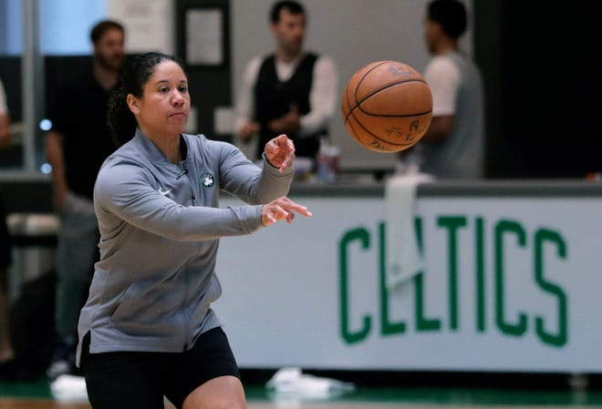 Duke has hired Boston Celtics assistant and former Tennessee star Kara Lawson as its next women's basketball coach. CHARLES KRUPA/AP
