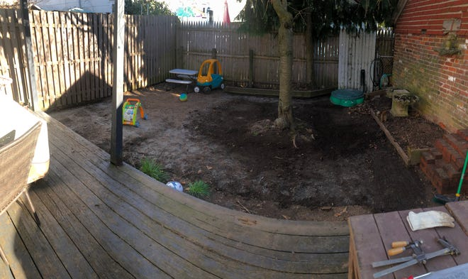 Jake Kinderman's backyard during renovation.