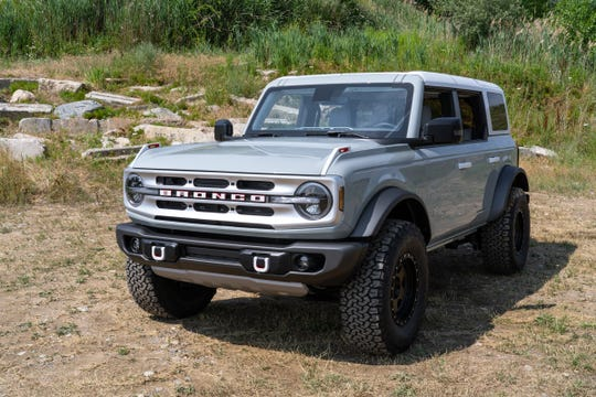 The front of a Ford Bronco 4-door is seen in Holly on July 10, 2020.