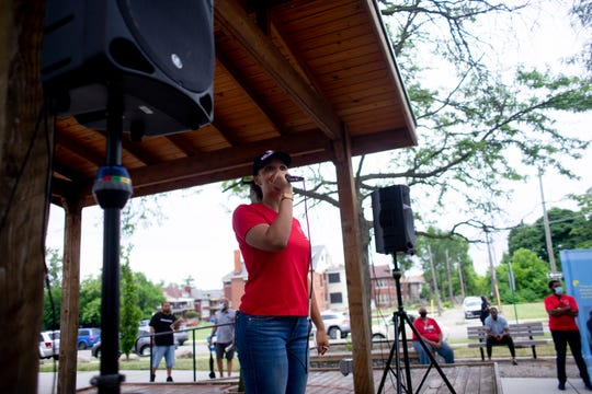 Detroit City Council President Pro Tem  Mary Sheffield speaks at the 7th Annual Occupy the Corner event at Gordon Park in Detroit, MI on July 10, 2020. This year the event focused on police reform.