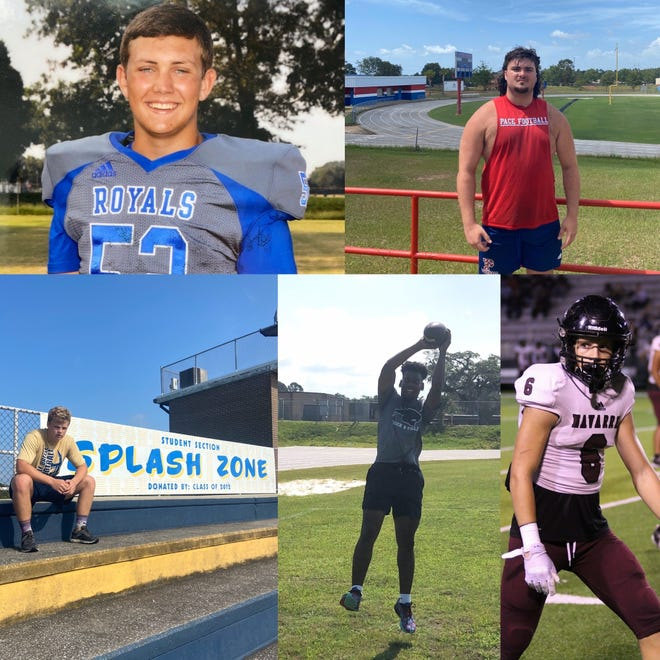 Bray Watson (Jay, top left), Braden Harrelson (Pace, top right), Mike Sawarynski (Gulf Breeze bottom right), Kam Hall (Milton, middle) and AJ Arno (Navarre) are the most-enthusiastic leaders from each team in Santa Rosa county in their own, unique ways.
