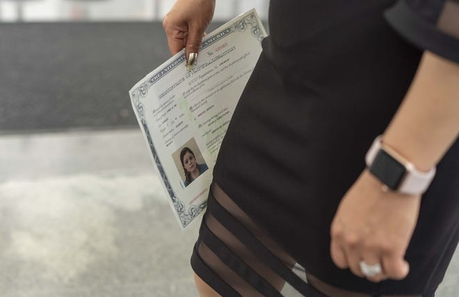 Daniella Pando, 37, of Mexico, becomes a U.S. citizen on July 10, 2020.
